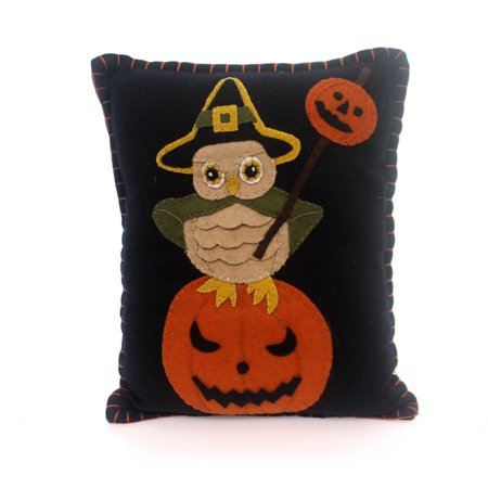 Halloween WITCHY OWL PILLOW Fabric Felt Applique Rl3608