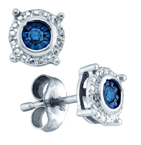Sterling Silver White 0.10ctw Shiny Blue Diamond Fanook Round Fashion Earring