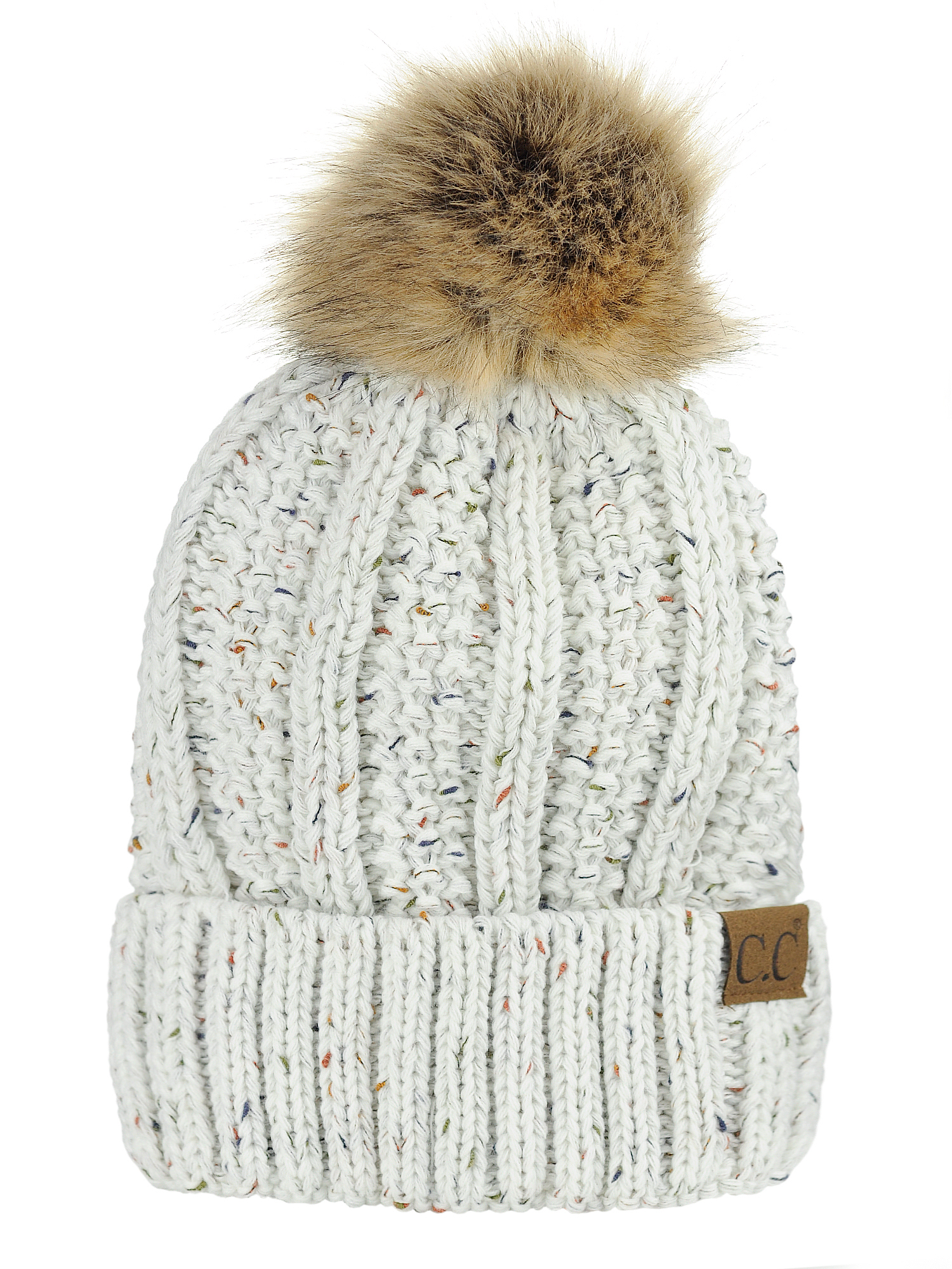 C.C Thick Cable Knit Faux Fuzzy Fur Pom Fleece Lined Skull Cap Cuff Beanie 72953fb4580