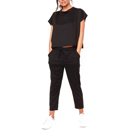 Silk Top & Cropped Pants (Women Casual Cropped Trouser Suit Ladies Summer Loose Outdoor Activity Short Sleeved Tops Shirt +Long Pants Trousers )