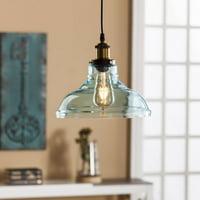 Southern Enterprises Garvelin Pendant Lamp, Contemporary style, Soft aqua blue