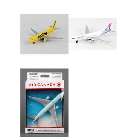 Spirit  Hawaiian  Air Canada Airlines Diecast Airplane Package   Three 5 5   Diecast Model Planes