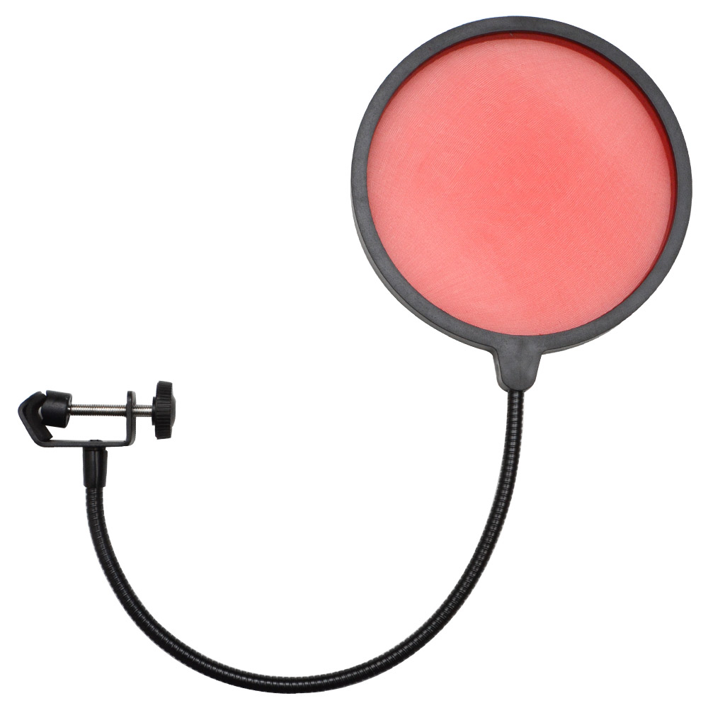 Seismic Audio  - Flexible Microphone Wind Screen Studio Mic Pop Filter Red Red - SA-MicScreenRed