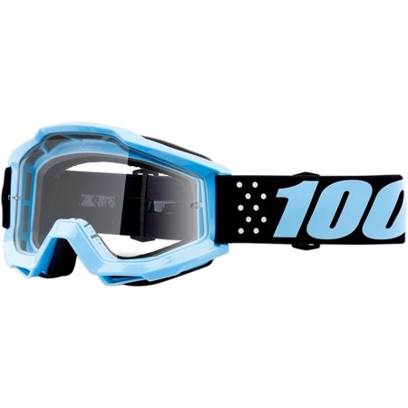 100% Accuri Taichi Youth MX Offroad Goggles Black/Light Blue/Clear Lens