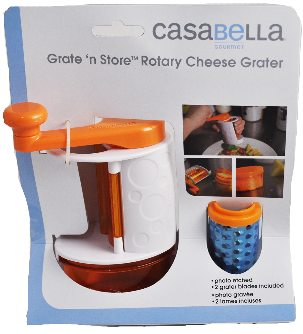 Casabella Grate N Store Rotary Cheese Grater Orange