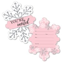 Pink Winter Wonderland - Shaped Fill-In Invitations - Holiday Snowflake Birthday Party or Baby Shower Invitation - 12 Ct