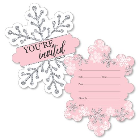 Zoo Birthday Invitations (Pink Winter Wonderland - Shaped Fill-In Invitations - Holiday Snowflake Birthday Party or Baby Shower Invitation - 12)