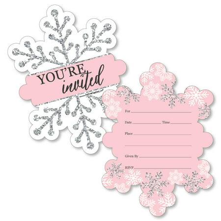 Halloween Birthday Invitation Wording (Pink Winter Wonderland - Shaped Fill-In Invitations - Holiday Snowflake Birthday Party or Baby Shower Invitation - 12)