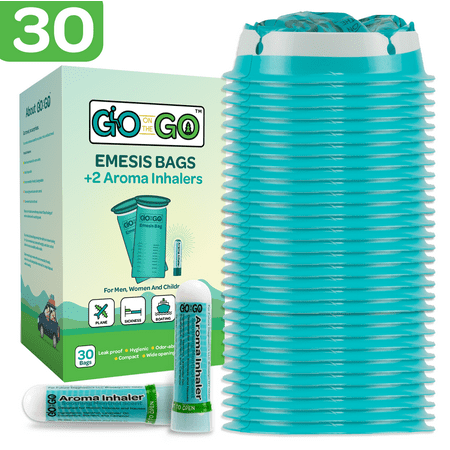 - Go on the Go Disposable Emesis Vomit Bags w/ Aromatherapy Inhalers for Morning Sickness & Nausea Relief - 30ct Vomit Bags & 2 Inhalers | Use for Medical, Home, Travel, Car, Plane, & Boat