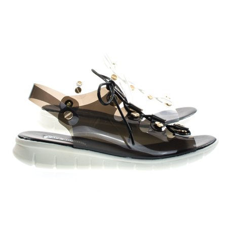 Like1 by Cape Robbin, PVC Clear Lace Up Cage Flat Sandal w Metal Hardware & White Rubber Outsole - Clear Sandals