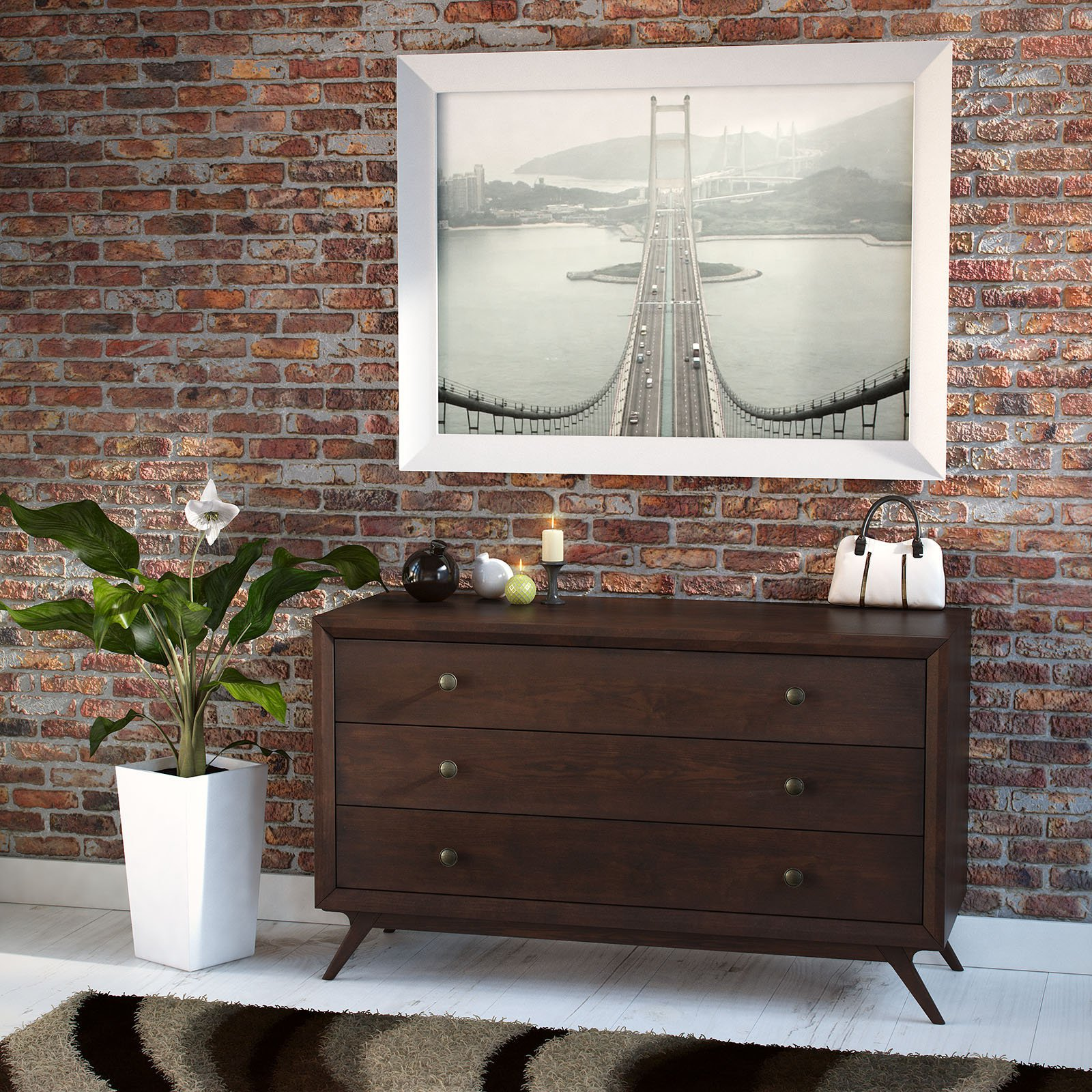 Modway Tracy Three-Drawer Wood Dresser, Multiple Colors