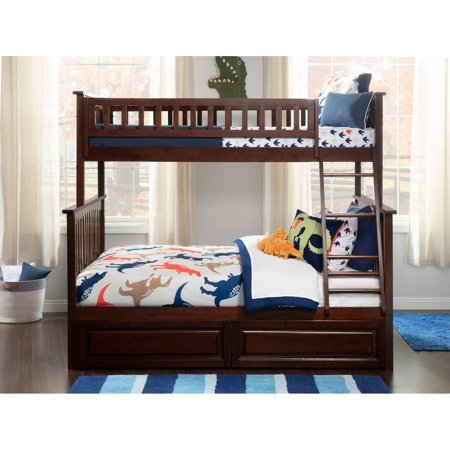 Atlantic Furniture Columbia Bunk Bed Twin Over Full With 2 Raised