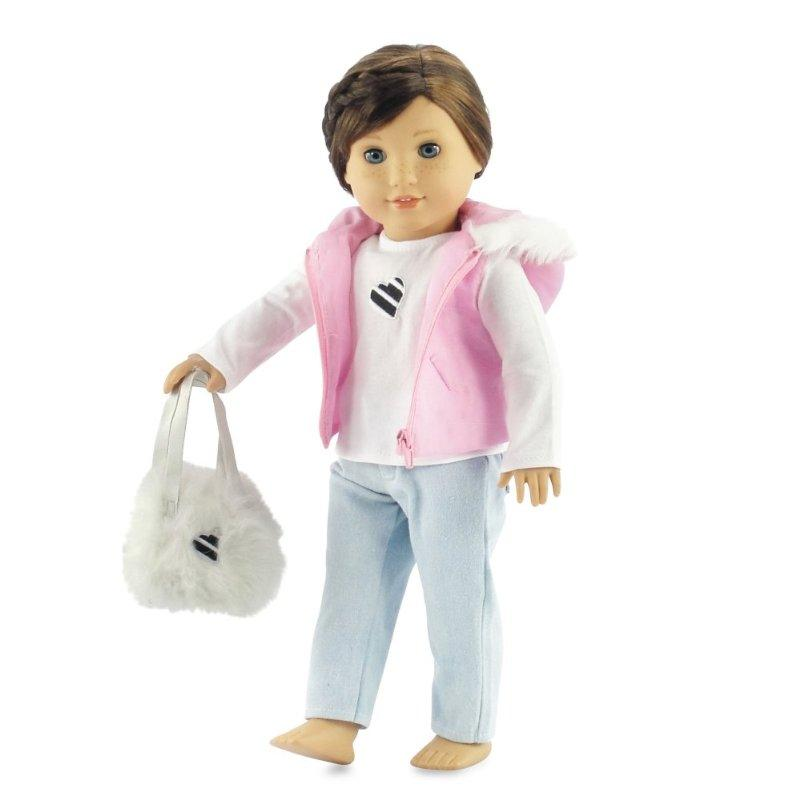 18 Inch Doll Clothes Pink Puffy Hooded Vest with Fur Trim | Clothing Fits American Girl... by Emily Rose Doll Clothes