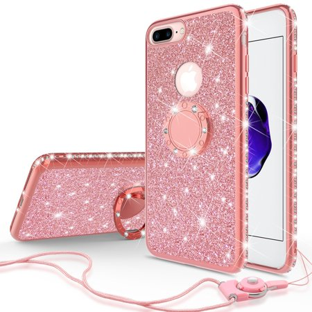 new concept 7625a c756d Apple Iphone 8 Plus/Iphone 7 Plus Case Glitter Cute Phone Case for Girls  with Kickstand,Bling Diamond Rhinestone Bumper with Ring Stand Thin Soft ...
