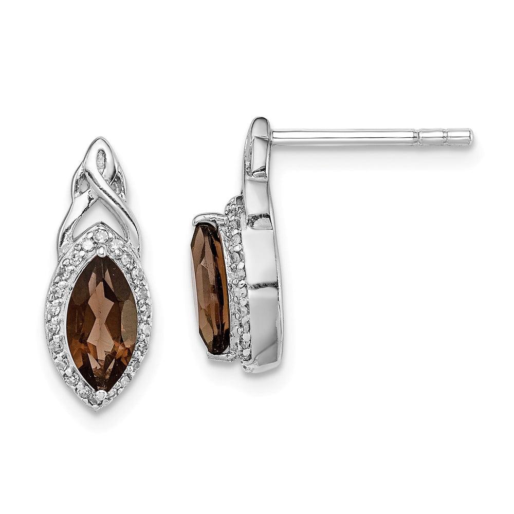 925 Sterling Silver Rhodium-plated Lemon Quartz Post Earrings