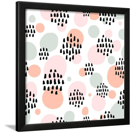 Spring Wall Lighting - Abstract Pastel Seamless Pattern with Black Marker Strokes. Light Blue and Pink Colors, Spring Summ Framed Print Wall Art By kotoko