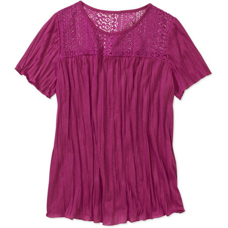 577d7b3172c9 Faded Glory - Faded Glory Women's Plus-Size Lace-Back Crinkle Top ...