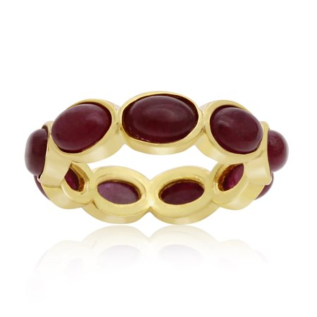 10 Carat Ruby Eternity Ring In 14K Yellow Gold Over Sterling Silver Size 5