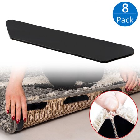 8 Pack Rug Grippers, Black Anti Curling Rug Gripper Anti Slip Straight Carpet Gripper for Corners and Edges - Anti Slip Rug Pad for Rugs - Ideal Rug Stopper For Kitchen Bathroom