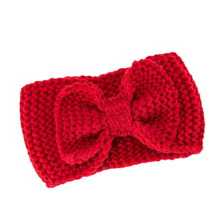 Mosunx Women Hair Ball Knitting Headband Elastic Handmade Bow Design