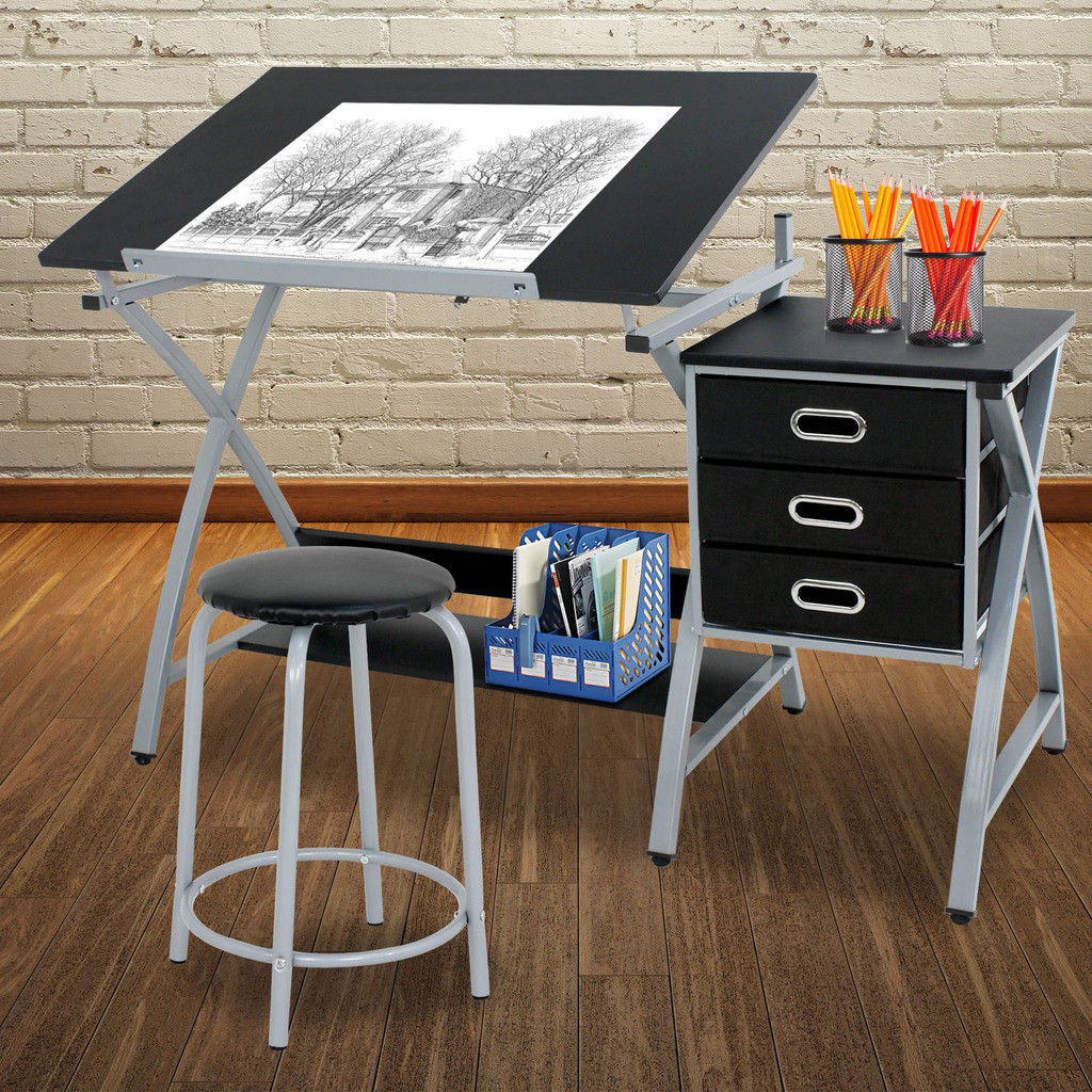 Zeny Adjustable Drafting Table Art Craft Drawing Desk Art Hobby w/ Stool & Drawers