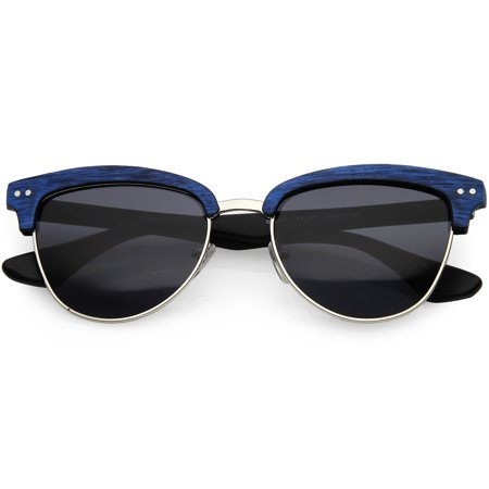 32122589db5 Faux Wood Semi Rimless Horn Rimmed Sunglasses Square Lens 53mm (Blue Silver    Smoke)