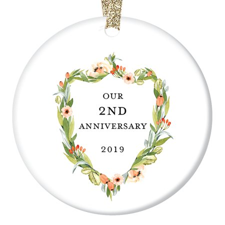 2nd Anniversary Ornament, Second Christmas Wedding 2019, Elegant Marriage Couple Husband & Wife Anniversaries Ceramic Present 3