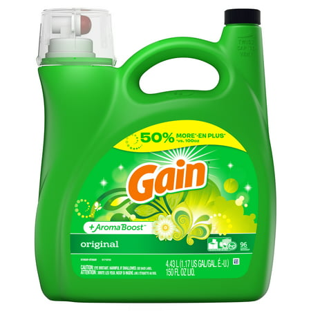 Gain Original HE, Liquid Laundry Detergent, 150 Fl Oz 96 (Best Natural Laundry Detergent For Cloth Diapers)