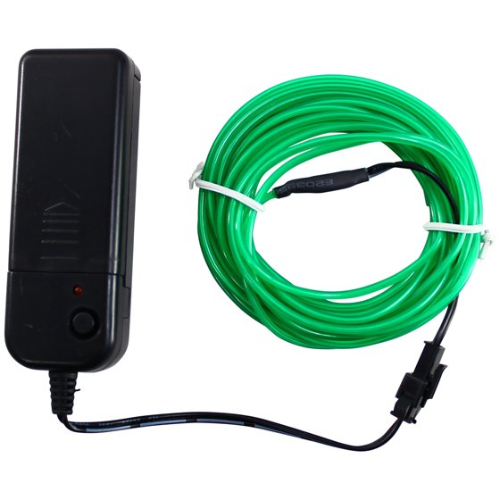 Rolling Lit 16.4ft Neon Glowing Strobing Electroluminescent EL Wire ...