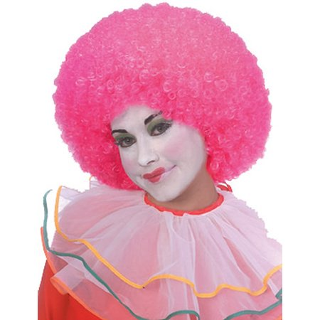 Clown Curly Afro Adult Costume Neon Pink Wig - Hot Pink Curly Wig
