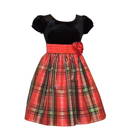 Bonnie Jean Girls Red Tartan Taffeta Holiday Dress 12