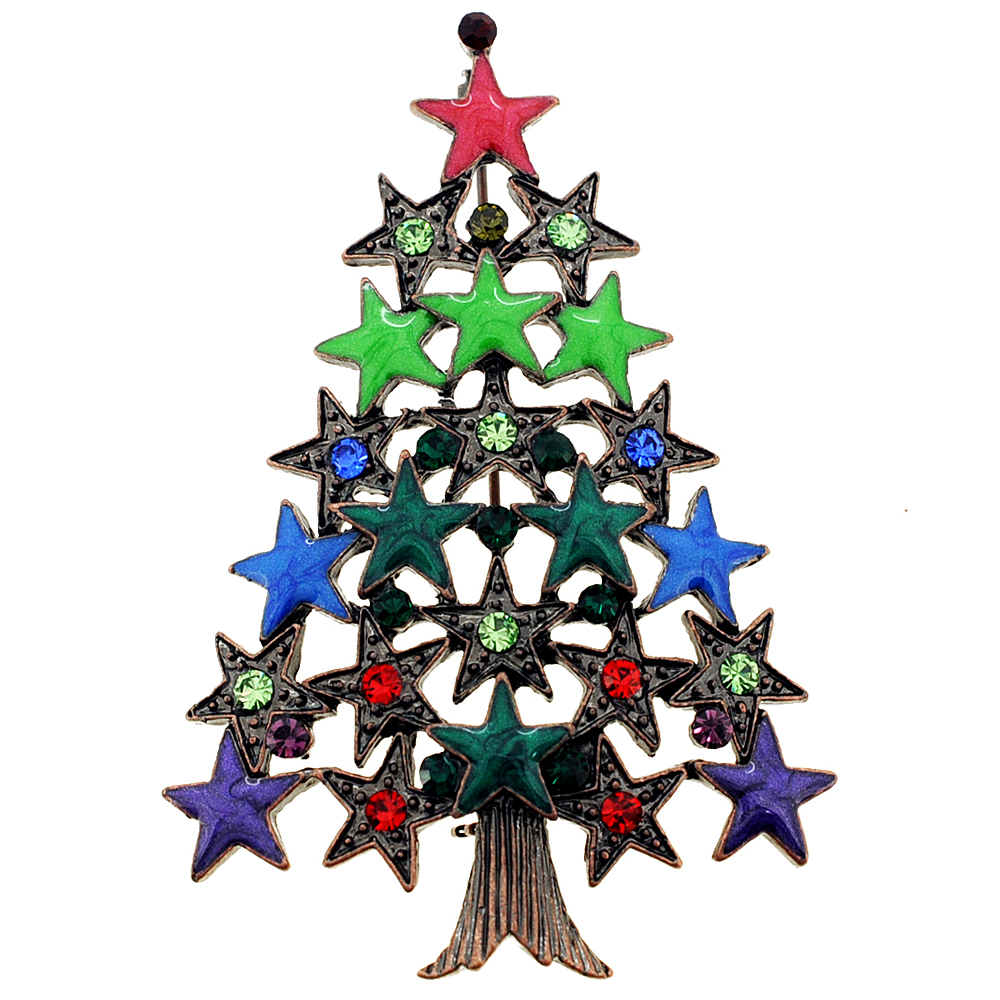 MultiColor Star Christmas Tree Pin Brooch by