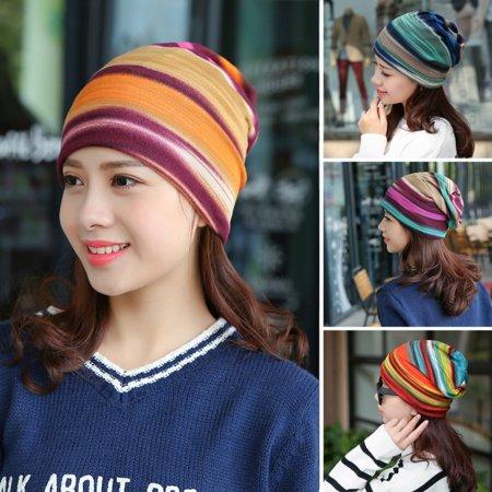 Girl12Queen Women Stretchy Striped Turban Head Wrap Band Chemo Hat Bandana Pleated - Bandana And Hat