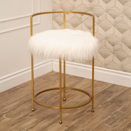 Devon & Claire Jodi Gold And Faux Fur Counter - Claire Stool