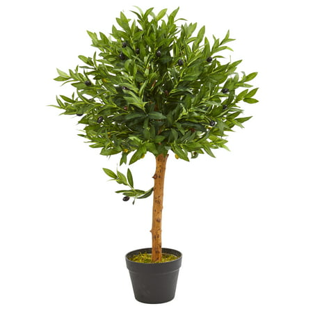 Nearly Natural 34-In. Olive Topiary Artificial Tree UV Resistant (Indoor/Outdoor) Olive Tree Topiary