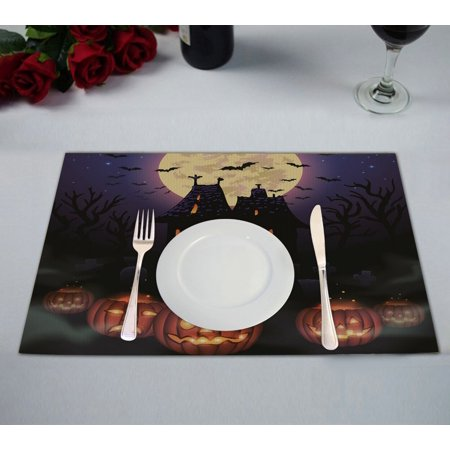 GCKG Moon Placemat, Halloween Wicked House with Pumpkins Placemat 12x18 Inch,Set of 2 - Halloween Place Mats