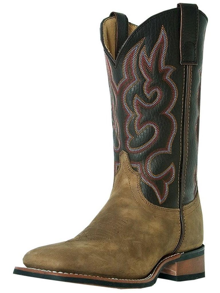 Laredo Western Boots Men Lodi Stockman Square Toe Taupe Chocolate 7898 by Laredo