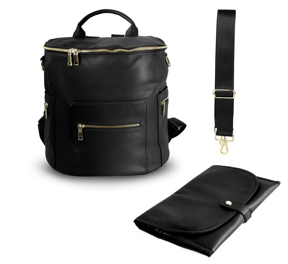 PU Leather Diaper Bag Backpack, Large Designer Organizer Bag with Insulated Pockets and Wipe Pouch(Black)