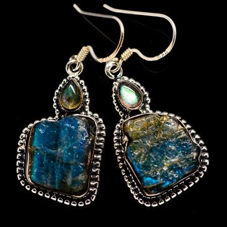 """Rough Labradorite Earrings 1 3/4"""" (925 Sterling Silver)  - Handmade Boho Vintage Jewelry EARR382301"""