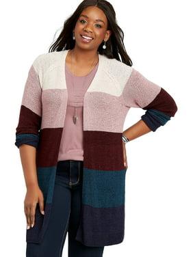 Plus Size Striped Colorblock Cardigan