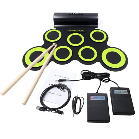 Portable Electronic Roll-Up Drum Kit, Foldable Drum Set Built in Speaker With DrumSticks, Foot Pedals and Power Supply 7 Drum Pads With Headphone Jack For Practice Starters Kids ()