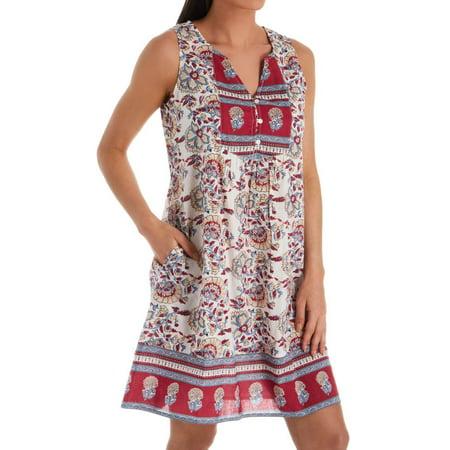 Women's La Cera 1032C 100% Cotton Button Front Lounge Dress - La Catrina Dress
