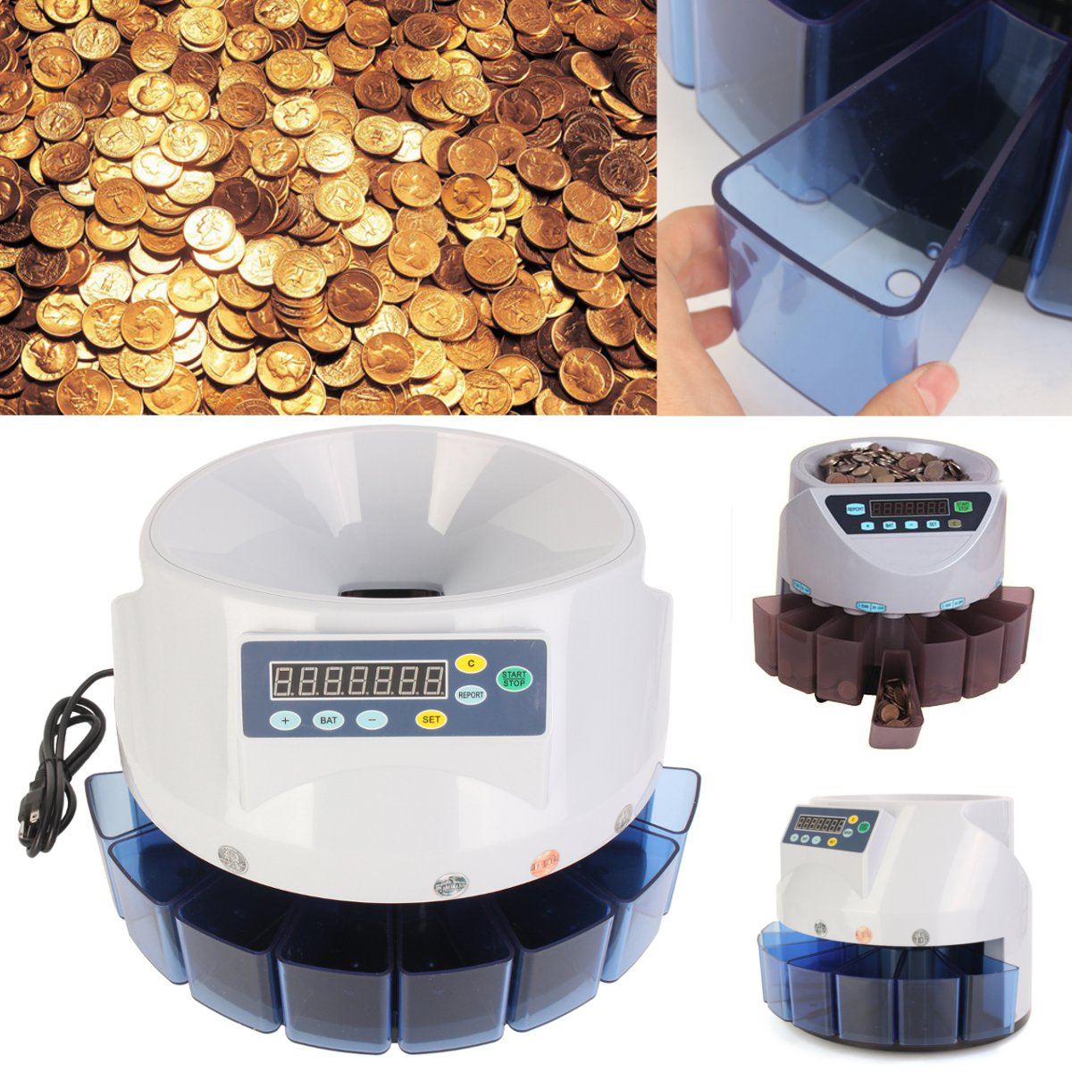 Meigar Commercial Automatic Electronic Digital US Coin Sorter Change Counter Fast Sort
