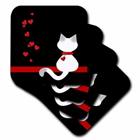 3dRose Pet Lovers Red Hearts Siamese Kitty Cat, Soft Coasters, set of 4 ()