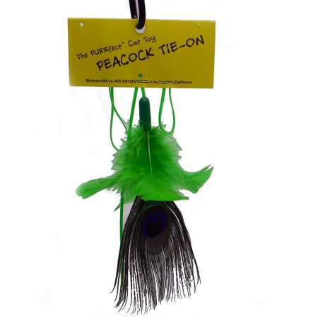 Cat Feather Natural (VEE Peacock Feather Natural Replacement Tie On Attachment Interactive Cat)