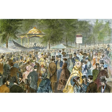 Central Park Nyc 1869 Na Fashionable Crowd Gathers To Socialize On A Saturday Afternoon Near The Music Stand On The Mall In New York CityS Central Park Colored Engraving 1869 (Best Mall In Nyc)