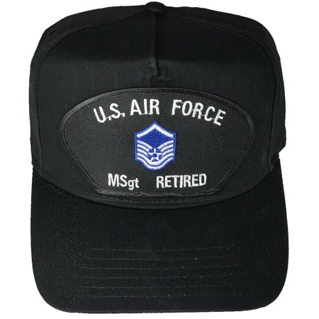 US AIR FORCE MASTER SERGEANT MSgt RETIRED with INSIGNIA PATCH HAT - Black - Veteran Owned Business