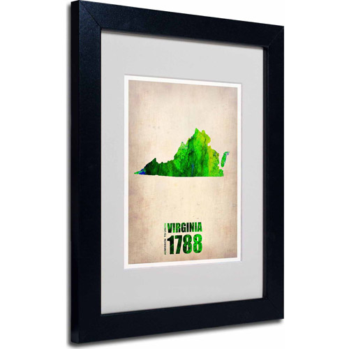 "Trademark Fine Art ""Virginia Watercolor Map"" Matted Framed Art by Naxart, Black Frame"