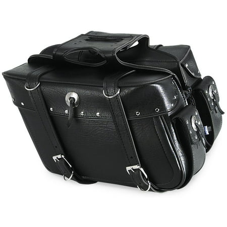 All American Rider 9086RP Box Style Slant Saddlebag - Rivet - X-Large - 21in.L x 6in.W x 11in.H