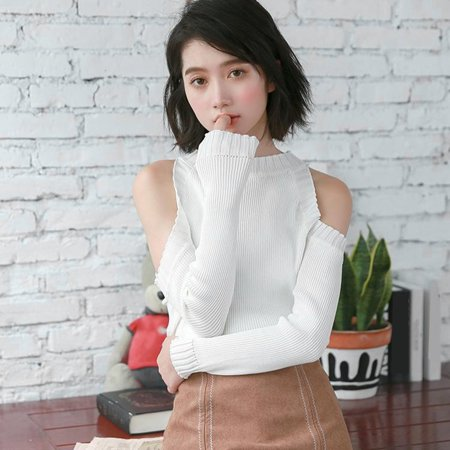 (Women's Long-sleeved Strapless Bottoming Thin Pullover Top Sweaters For Autumn)